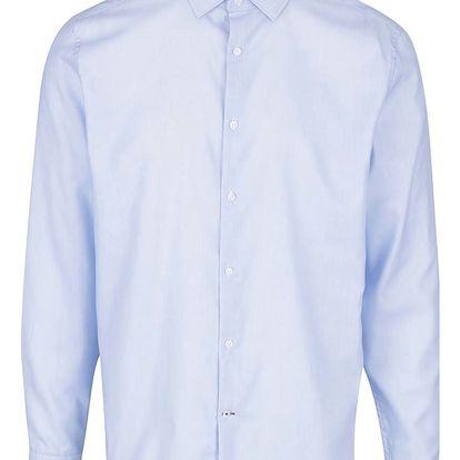 Světle modrá žíhaná formální slim fit košile Burton Menswear London