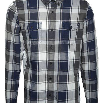 Modro-šedá pánská károvaná slim fit košile s.Oliver
