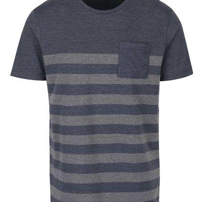 Tmavě modré pruhované triko Selected Homme New Petersen