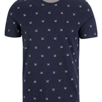 Tmavě modré triko se vzorem Selected Homme New Luke
