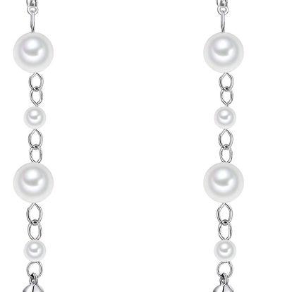 Bílé perlové náušnice Pearls Of London Shell