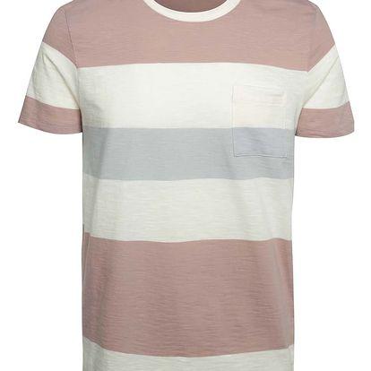 Krémovo-růžové pruhované triko s kapsou Selected Homme Rune