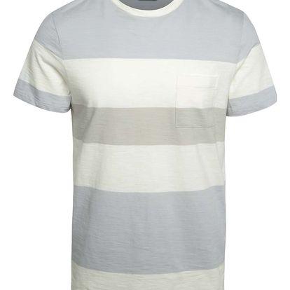 Krémovo-šedé pruhované triko s kapsou Selected Homme Rune