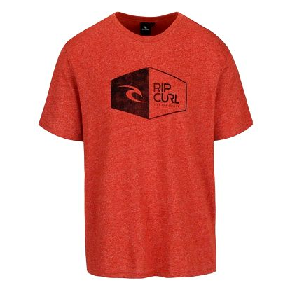Cihlové žíhané pánské triko s potiskem Rip Curl 3D Icon SS Tee
