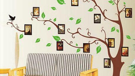 Hnědý strom s rámečky 170 x 120 cm