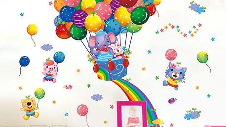 Zvířátka v létajícím balónu 53 x 63 cm