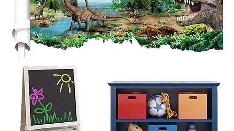 Samolepka na zeď - krajinka s dinosaury