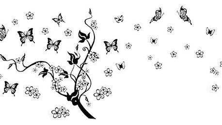 Černá větev a motýli 160 x 70 cm