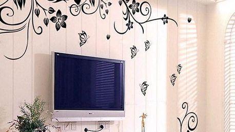 Samolepka na zeď - květinový wall art - dodání do 2 dnů