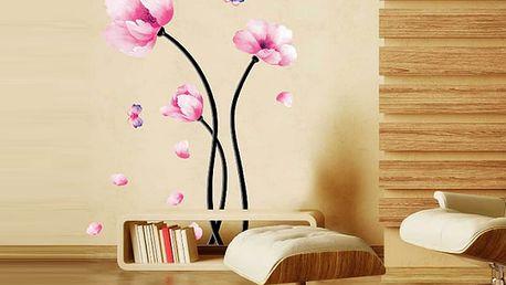Růžové květiny 50 x 70 cm