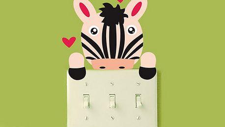 Nalepte.cz Barevná zebra na vypínač 6 x 6 cm