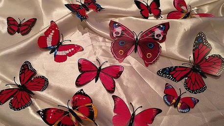 3D motýlci na zeď růžoví 12 ks 5,5 cm až 12 cm