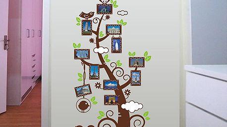 Hnědý strom s fotorámečky 60 x 110 cm
