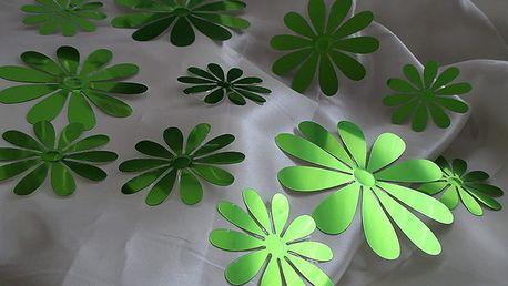 Nalepte.cz 3D květy metalická zelená 9,5 x 9,5 cm