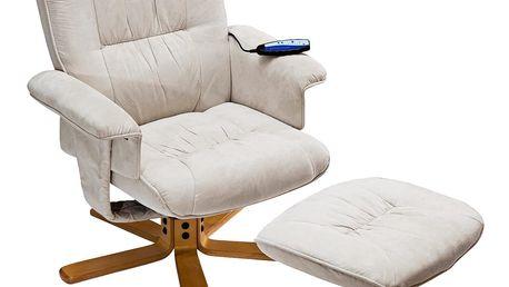 Relaxační masážní křeslo s podnožkou béžové K36