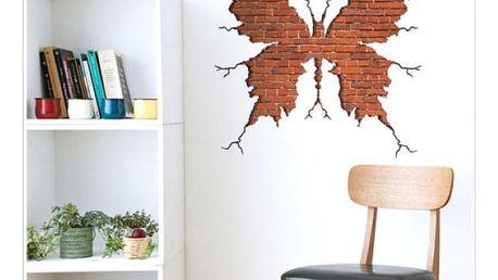 Samolepka na zeď - Otisk motýla v cihlové zdi - dodání do 2 dnů