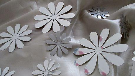 Nalepte.cz 3D květy metalická stříbrná 9,5 x 9,5 cm
