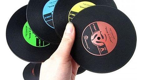 Podtácky v podobě gramofonových desek - 6 ks - dodání do 2 dnů