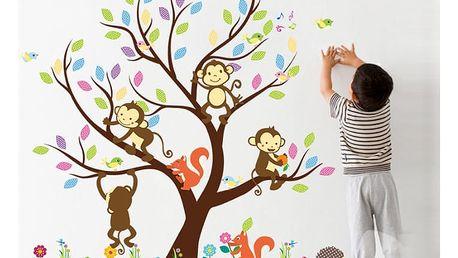 Strom a hravé opičky 110 x 91 cm