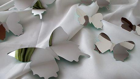 Nalepte.cz 3D motýli na zeď zrcadloví 12 ks 12 x 10 cm