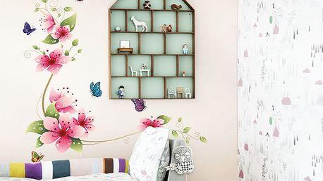 Barevné lilie a motýli 62 x 64 cm