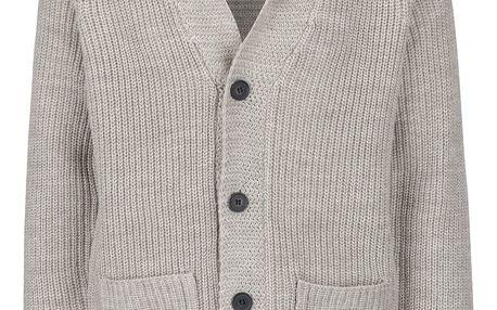 Béžový propínací svetr s kapsami Blend