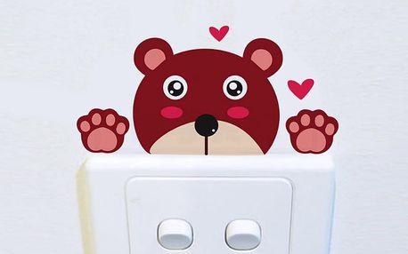 Barevný medvěd na vypínač 9 x 4 cm