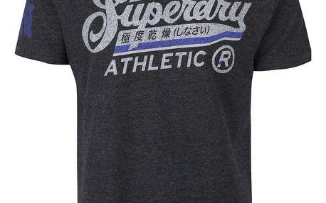 Černé pánské žíhané triko s nápisem Superdry