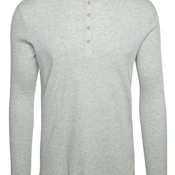 Světle šedé triko s dlouhými rukávy Selected Homme Halex
