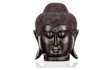 Socha Buddha hlava- černá