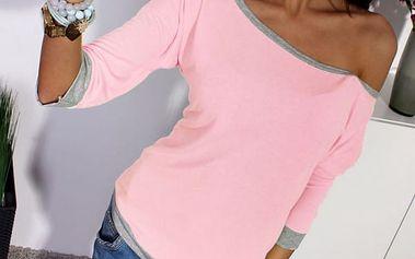 Tričko se spadlým rukávem - růžová, velikost 2 - dodání do 2 dnů