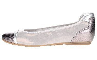 Jemně vzorované baleríny ve stříbrné barvě Tamaris