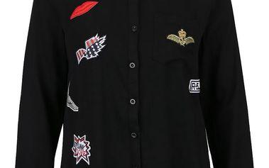 Černá košile s barevnými nášivkami Haily´s Pat