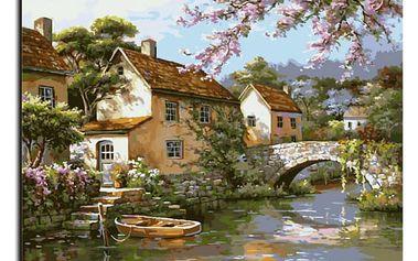 Bezrámový obraz - vesnice u řeky