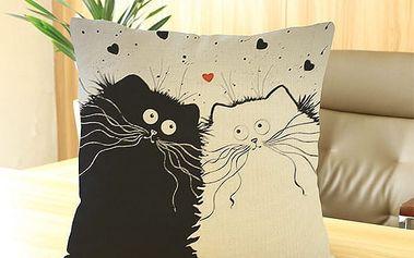 Povlak na polštář s bláznivými kočkami - dodání do 2 dnů