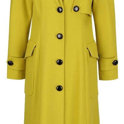 Zelenožlutý vlněný kabát Closet