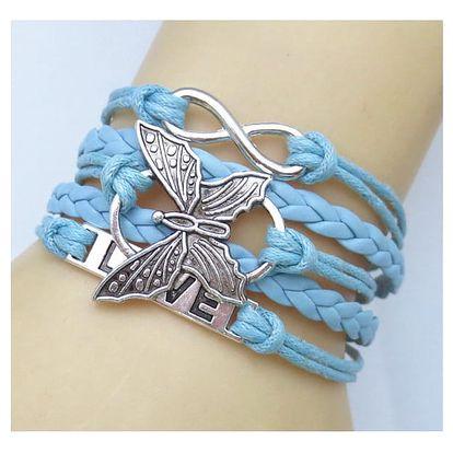 Barevný pletený náramek s motýlkem
