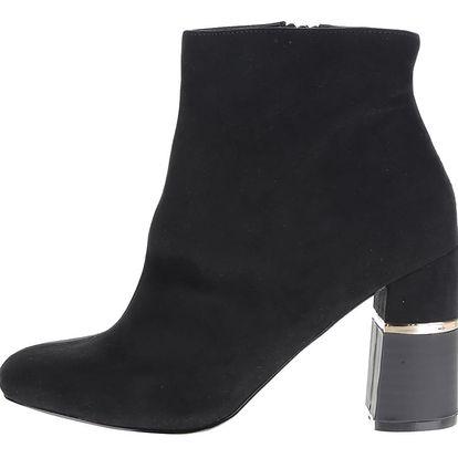 Černé kotníkové boty v semišové úpravě na podpatku Miss Selfridge