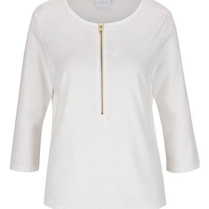 Krémové tričko se zipem VILA Haula