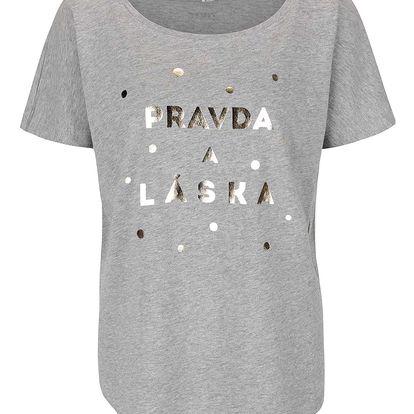 Šedé dámské tričko ZOOT Originál Pravda a láska