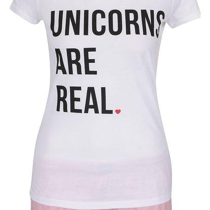 Bílo-růžové dámské pyžamo ZOOT Originál Unicorns Are Real