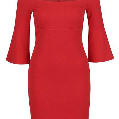 Červené šaty s 3/4 rukávy Miss Selfridge Petites