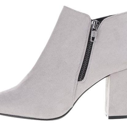 Světle šedé kotníkové boty v semišové úpravě OJJU