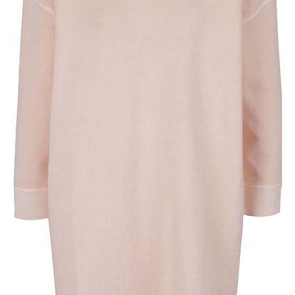 Světle růžové volné mikinové šaty s potiskem na zádech Maison Scotch