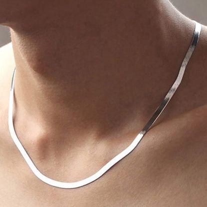 Široký pánský řetízek na krk - stříbrná barva - dodání do 2 dnů
