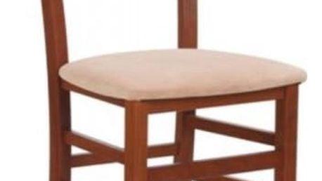 Dřevěná židle Tapo bílá - šedá (tkanina)