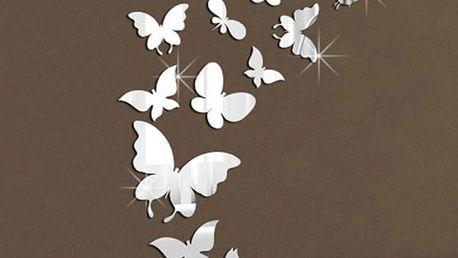Samolepka na zeď v podobě zrcadla ze 14 ks malých motýlů - stříbrná barva - dodání do 2 dnů