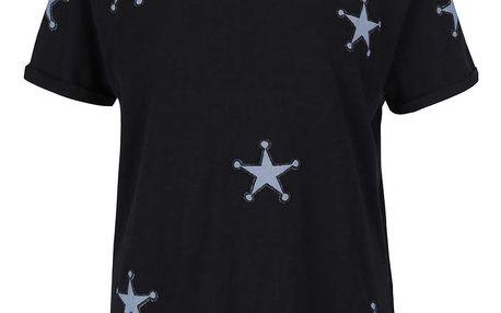 Černé tričko s nášivkami ve tvaru hvězd Maison Scotch