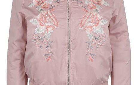 Světle růžový bomber s květovanou výšivkou Miss Selfridge Petites