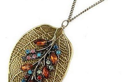 Vintage náhrdelník s přívěskem ve tvaru lístku - dodání do 2 dnů